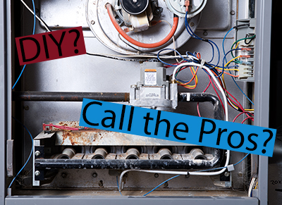 "Belmar furnace repair, inside of a furnace with 2 text banners reading ""DIY?"" and ""Call the Pros?"""